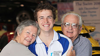 Allen Cornall with mum Margaret and dad John. Picture: Simon Dallinger Herald Sun