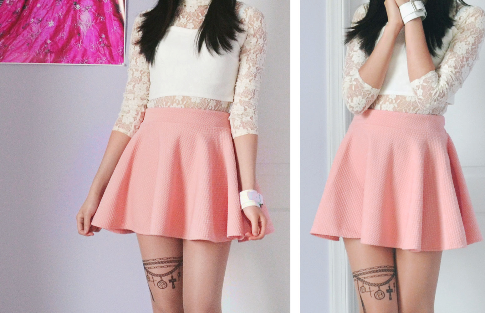 Other photos of this ulzzang and springtime-inspired outfit with the Chicnova pastel skirt, tattoo tights, and bracelet as well as the Snidel crop top and brown high-heeled boots