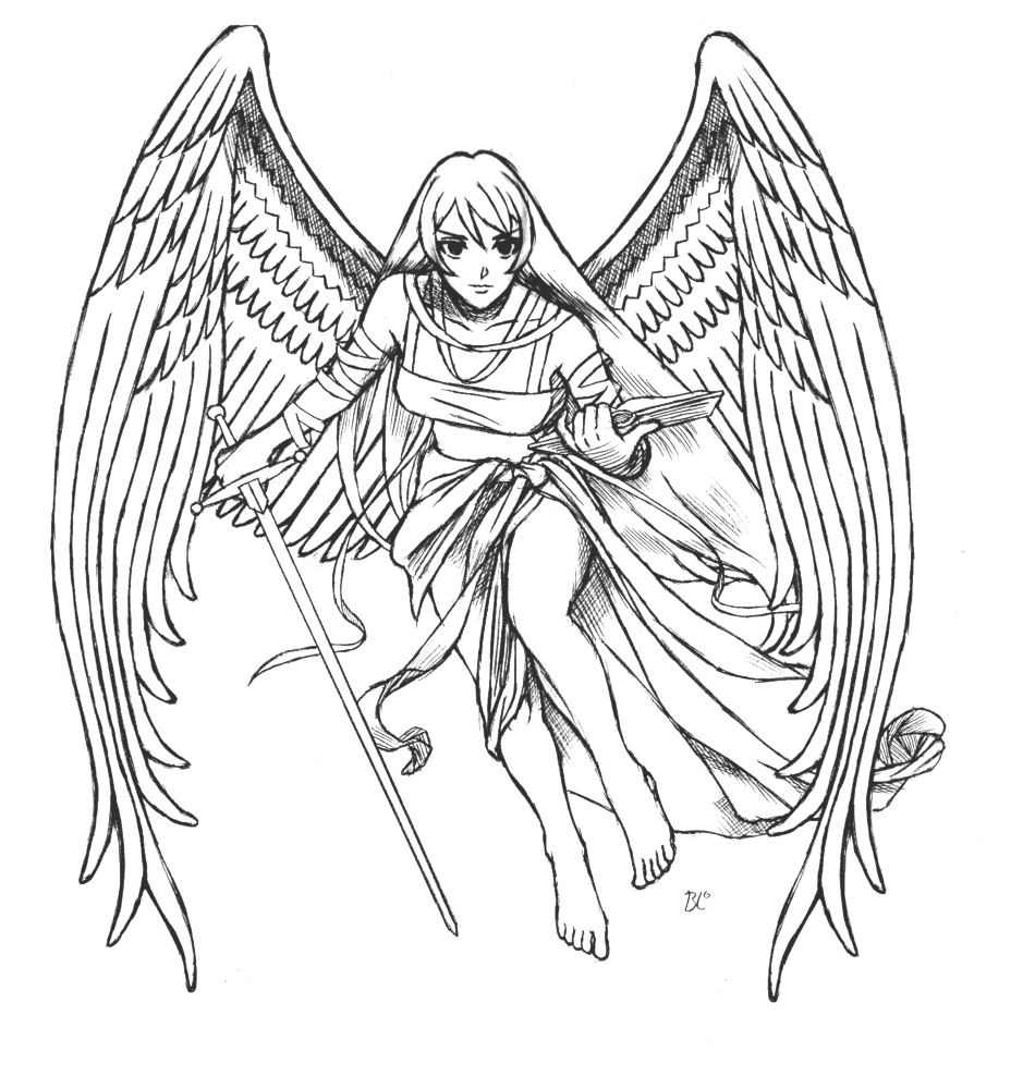 anime coloring pages angels - photo#16