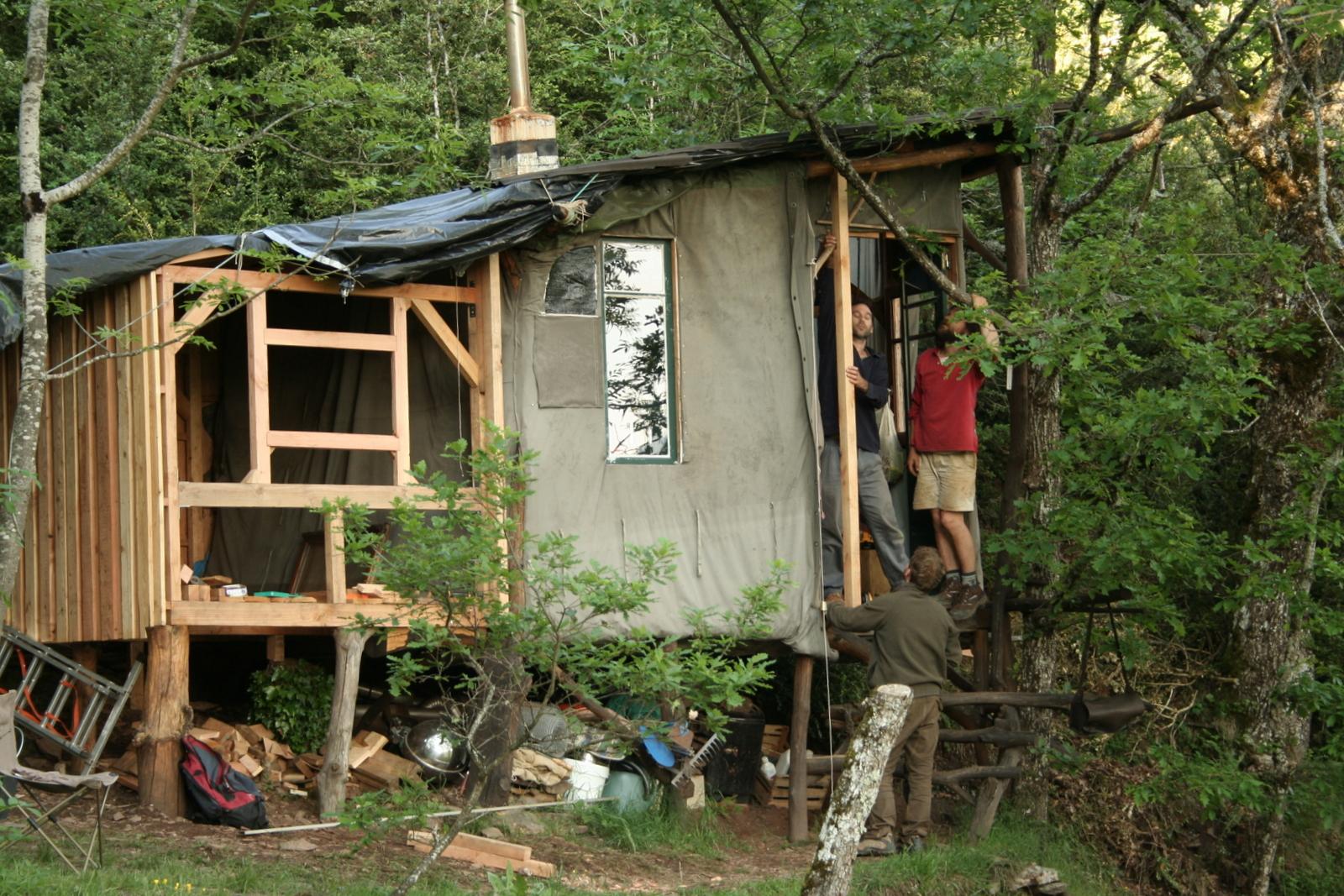Lili muguette cabane en re construction for Cabane en bois 5m2