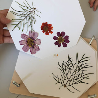 Tickled by the Creative Bug - Revealing pressed wildflowers and leaves inside a wooden flower press