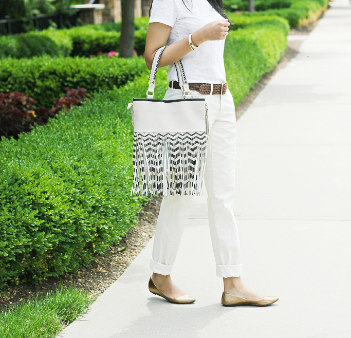 JCrew Chinos, J.Crew Waverly Chinos, Palm Print T-shirt, Gold flats, Fringe tote bag