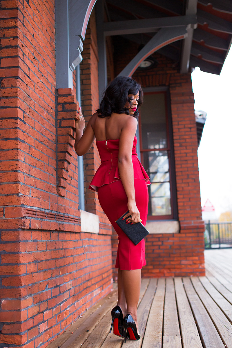 Lady in red, peplum dress, www.jadore-fashion.comf