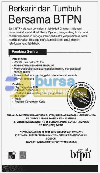 Lowongan Kerja BANK BTPN Lampung