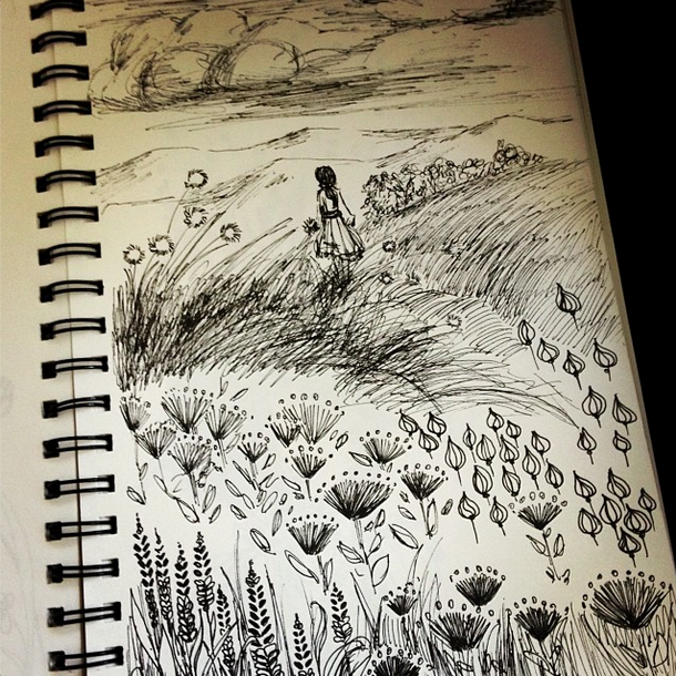 Ink Sketch doodle flowers girl meadow nature Nicole Piar