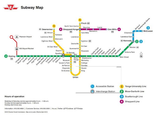 Mapa do metrô de Toronto, Canadá.