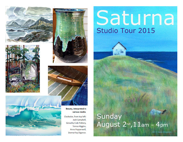 Saturna Studio Tour 2015 - August 2nd, 11 am to 4 pm. Tour Brochure. .