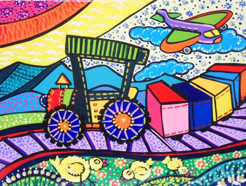 Cuadros pinturas oleos pintura decorativa con carritos for Cuadros infantiles al oleo