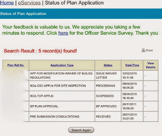status of Plan Application