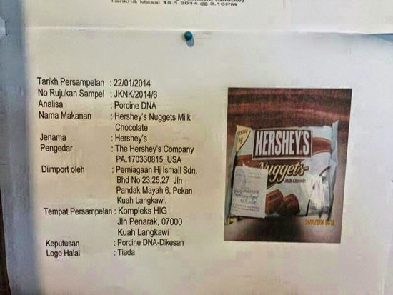 Jenama Coklat di Langkawi Positif DNA Khinzir