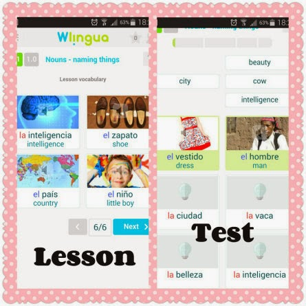 wlingua sample lesson and test