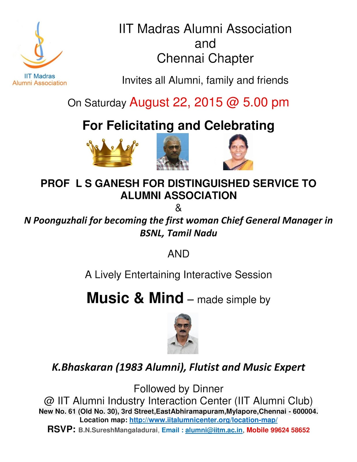 IITMAA REACHES OUT AN INVITATION TO FELICITATION OF ALUMNI AND
