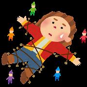 ガリヴァー旅行記のイラスト「小人に捕まるガリバー」