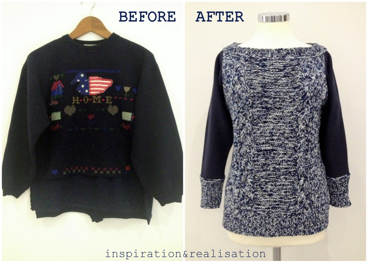 ... and realisation: DIY fashion blog: DIY sweater refashion with knit