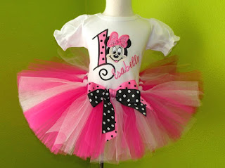 Black and Pink Minnie Mouse Birthday Tutu Outfit