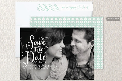 calligraphy save the date in pool blue with full bleed photo