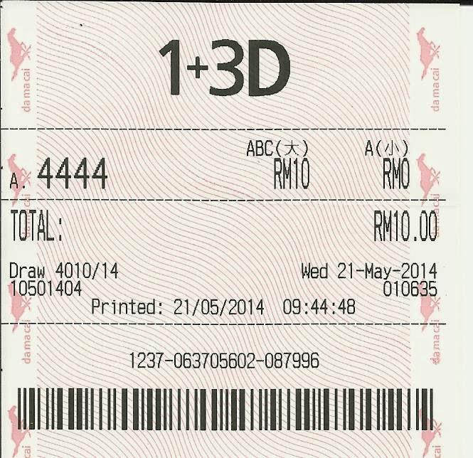 Nombor 4444 di atas telah di beli di PMP Damacai (Kuda) dan MENGENA