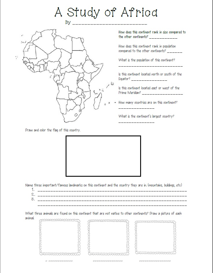 africa map skills worksheets