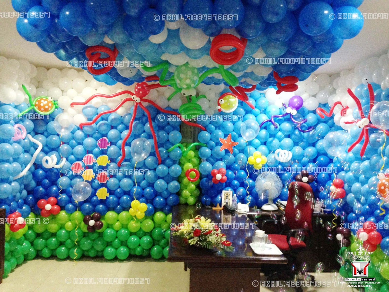 A top class balloon decorators in chennai akhil 9884378857 for Birthday balloon ideas