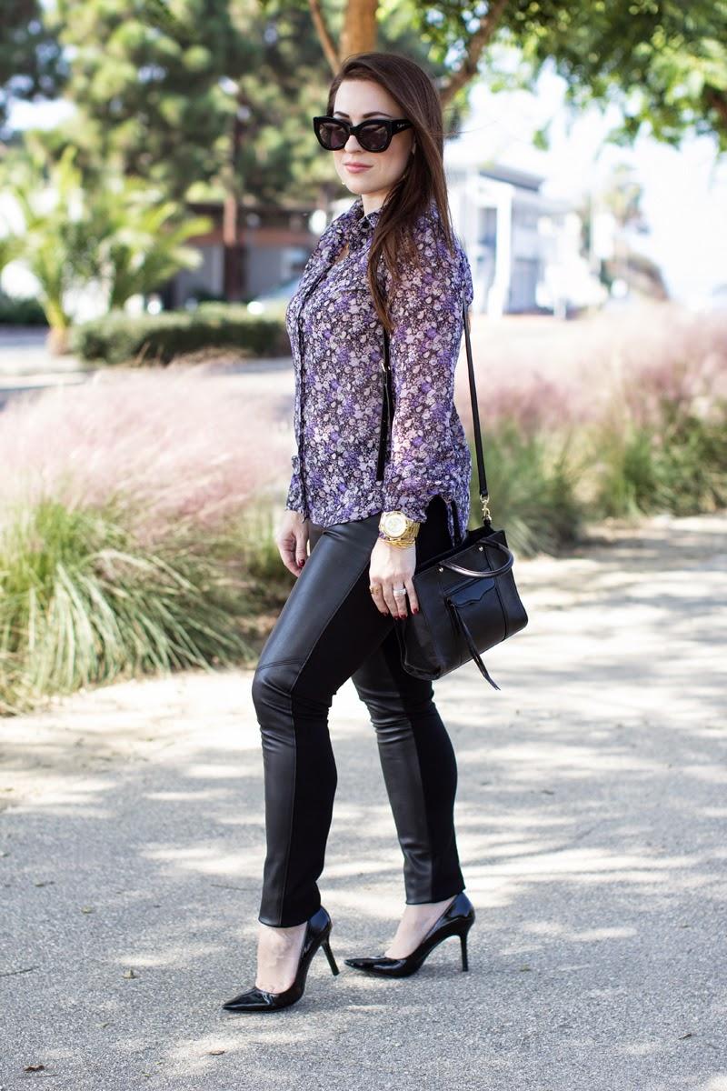 bcbg floral blouse, faux leather leggings