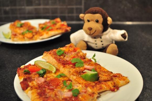 Pizza scampi Mat med monkis lime chilimarinert hvitløk
