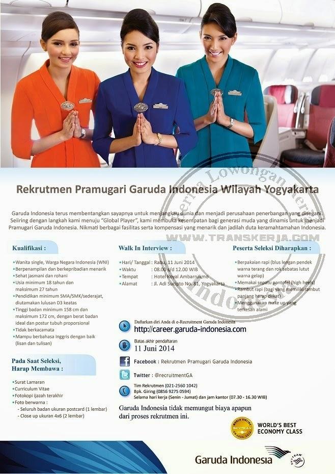 Walk In Interview Dan kualifikasi Daftar Peserta Rekrutmen Pramugari Garuda Indonesia Wilayah Yogyakarta