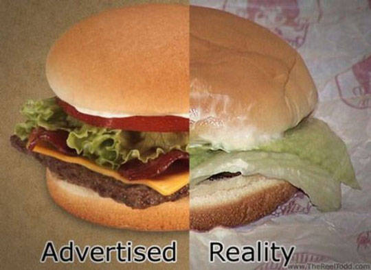 Advertised - Reality - Burger