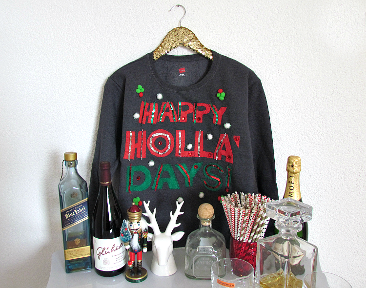 Super easy DIY ugly/tacky Christmas Sweater + FREE printable template!