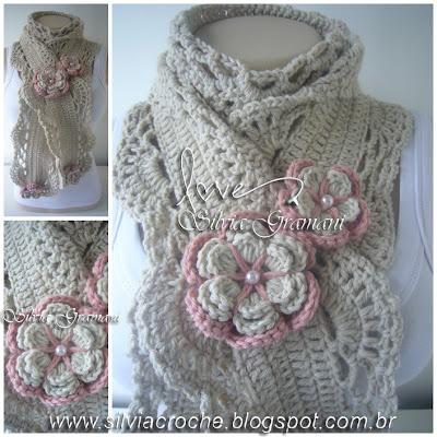 cachecol, croche cachecol, croche, flor de croche, cachecol com flores de croche