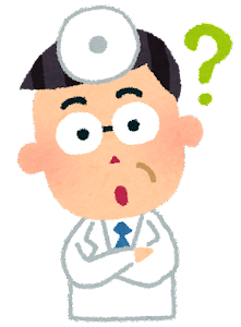 医者の表情のイラスト「疑問」