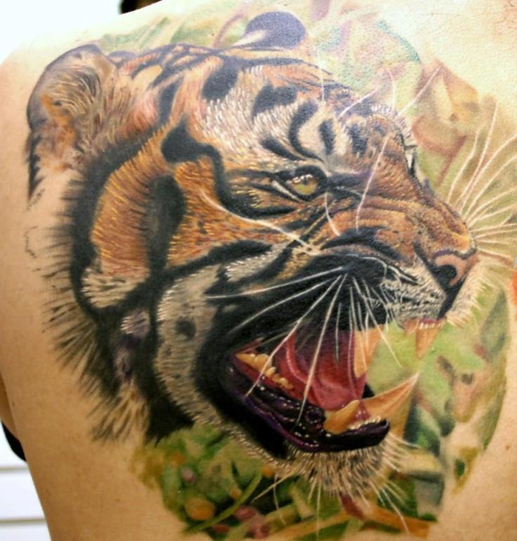 Roaring Tiger Head Tattoo