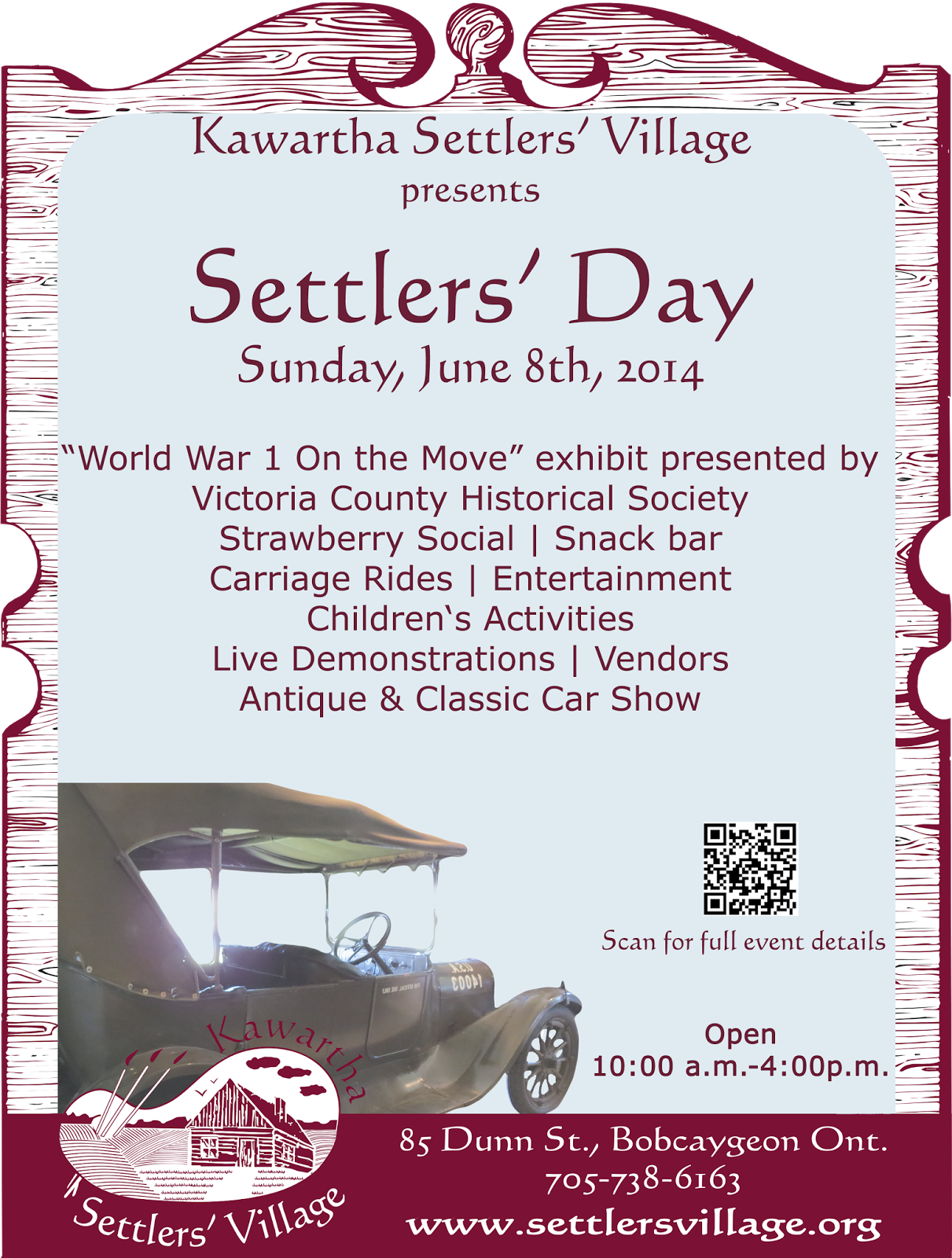 Bobcaygeon kawartha lakes Ontario 2014 Settlers Day poster features WWI vehicle
