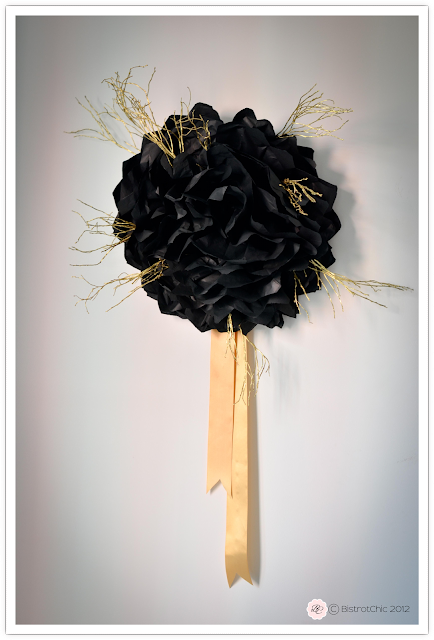New Year's Eve party gold and black giant paper flower from BistrotChic