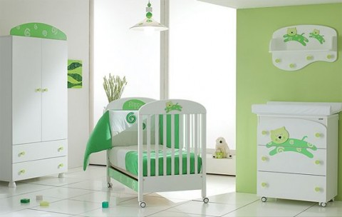 Cuarto de beb con paredes verdes ideas para decorar dormitorios - Camera da letto verde mela ...
