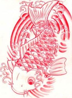 Image koi fish design in red ink