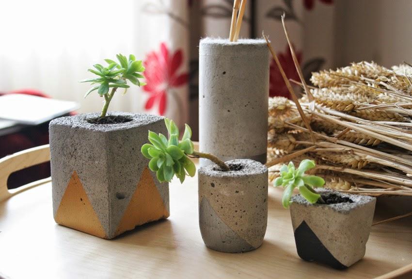 Diy Floreros de cemento pintados con suculentas1