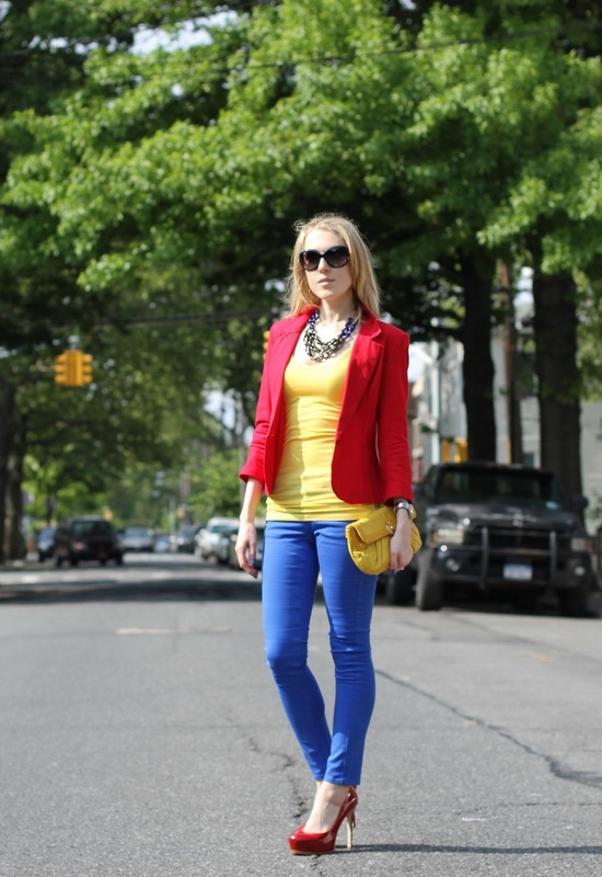 Asos Red Linen Workwear Blazer Asos Petite Skinny Jeans In Dazzling Blue #4 Pour La Victoire Irina Platform Pumps Perlina New York Yellow Leather Clutch Ray-Ban Color-Block Sunglasses