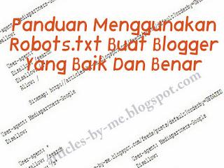 Panduan Menggunakan Robots.txt Blogger Baik Benar
