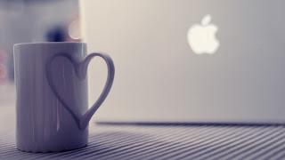 Notebook Apple Cup Love Heart HD Wallpaper