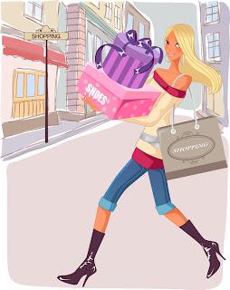 chicas fashion compras en vectores