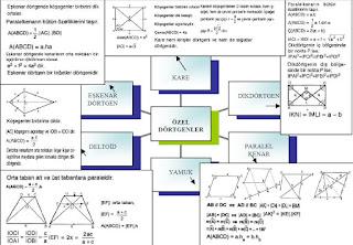 İzmir özel ders özel dörtgenler kavram haritası
