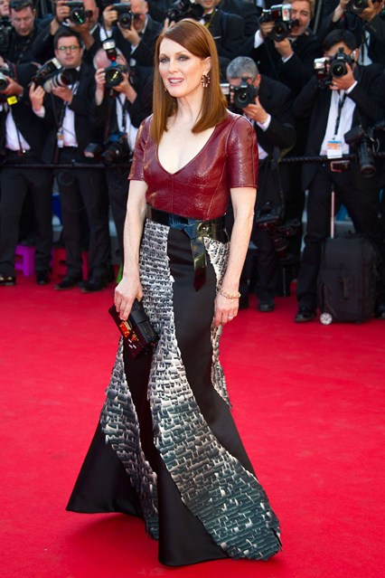Julianne Moore wore a custom-made dress designed by Nicolas Ghesquière for Louis Vuitton at Cannes 2014