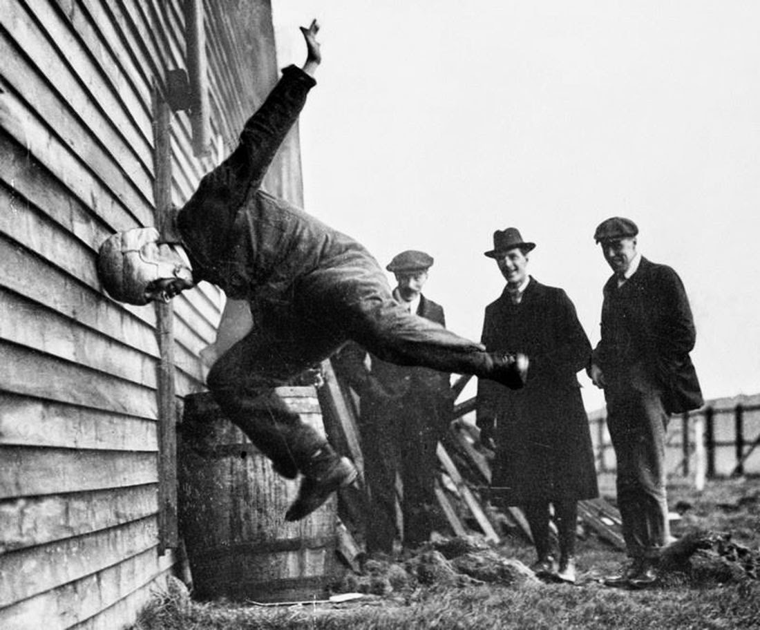 This was a way for testing helmets back in 1912.