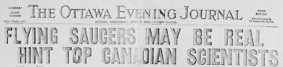 Flying Saucers May Be Real Hint Canadian Scientists - Ottawa Evening Journal (Headingt) 4-16-1952