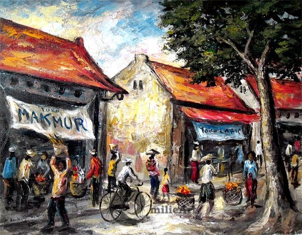 lukisan suasana kota