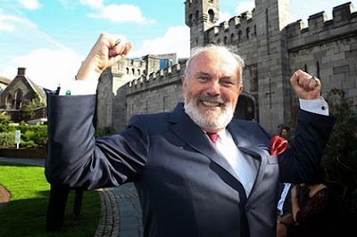 Senator David Norris celebrates the defeat of the referendum that sought to abolish the Irish Senate earlier this month
