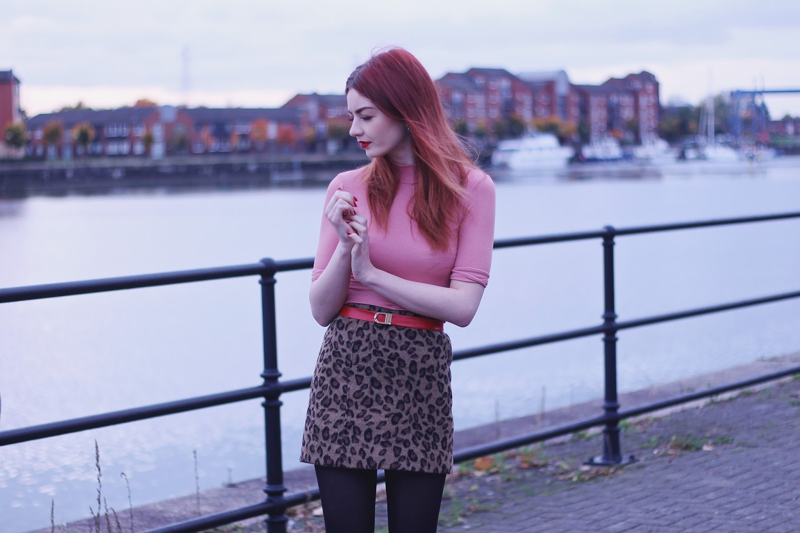 red coat leopard print skirt