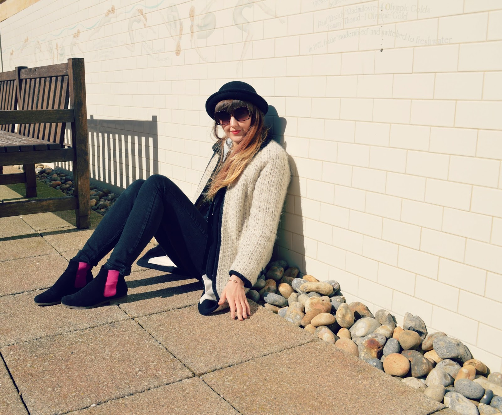 topshop coat ASOS sunglasses HM hat