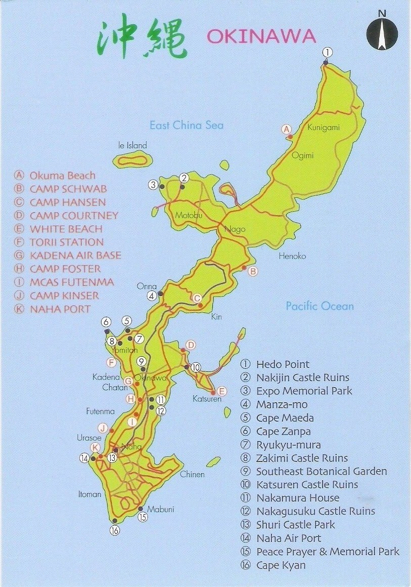 map of okinawa showing major sights and us bases thanks to jess of usa