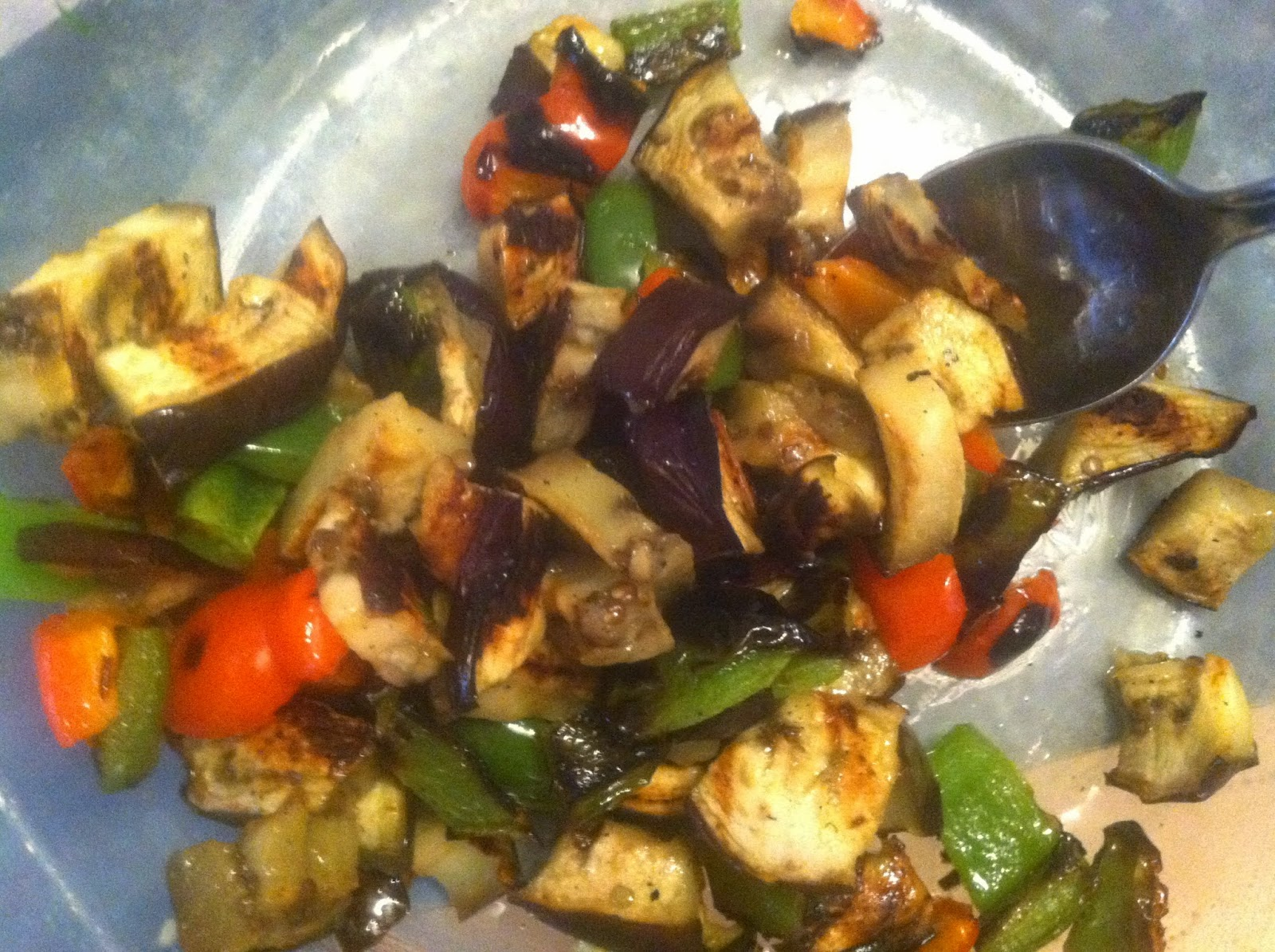 grilled peppers and eggplant to serve with tuna steak.